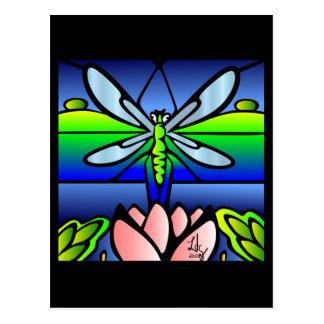 Cartão do estilo de Tiffany da libélula Cartão Postal
