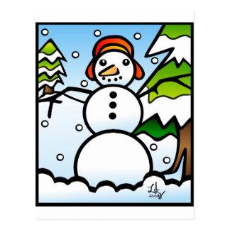 Cartão do estilo de Tiffany do boneco de neve Cartão Postal