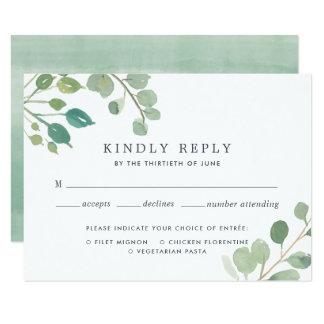 Cartão do eucalipto RSVP com escolha da refeição