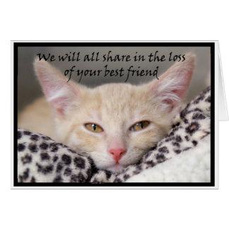Cartão do falecimento do tema do gato para a perda