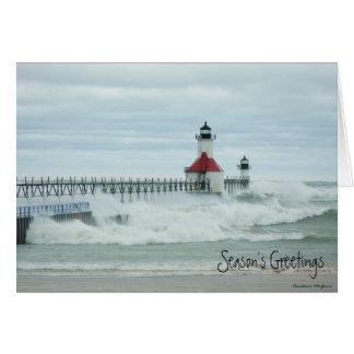 Cartão do farol de Sandy o Lago Michigan do