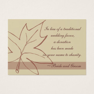 Cartão do favor da caridade do casamento da folha