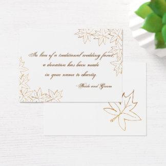 Cartão do favor da caridade do casamento outono da