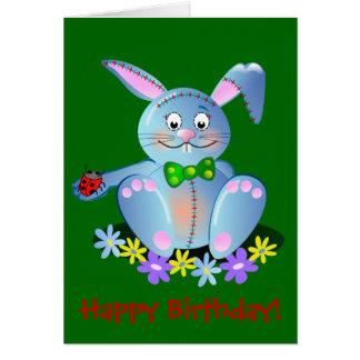 Cartão do feliz aniversario com coelho