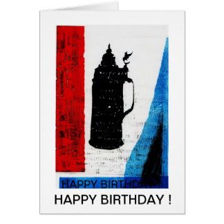 Cartão do feliz aniversario com krug da cerveja