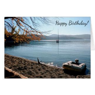 Cartão do feliz aniversario da praia do veleiro