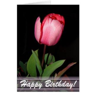 Cartão do feliz aniversario da tulipa