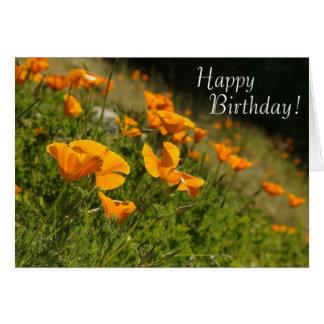 Cartão do feliz aniversario das papoilas