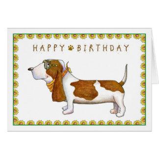 Cartão do feliz aniversario de Basset Hound