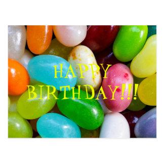 Cartão do feliz aniversario de feijão de geléia