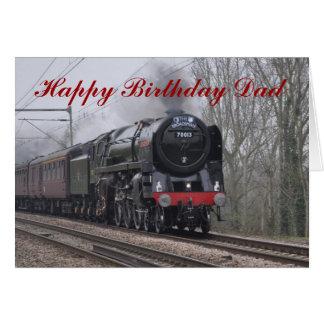 Cartão do feliz aniversario de locomotiva de vapor