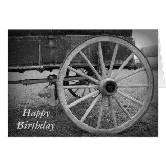 Cartão do feliz aniversario de roda de vagão