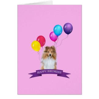 Cartão do feliz aniversario de Sheepdog de Sheltie