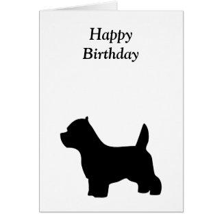 Cartão do feliz aniversario de Terrier branco de