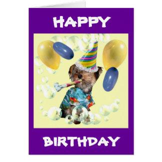 Cartão do feliz aniversario de Yorkie