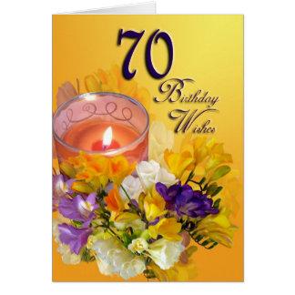 cartão do feliz aniversario do 70 - freesias e