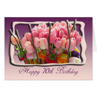 cartão do feliz aniversario do 70 - tulipas