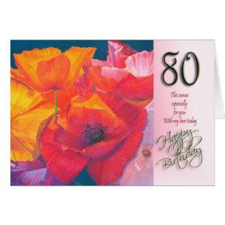 cartão do feliz aniversario do 80