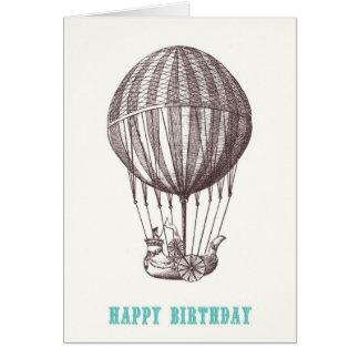 Cartão do feliz aniversario do balão do vintage