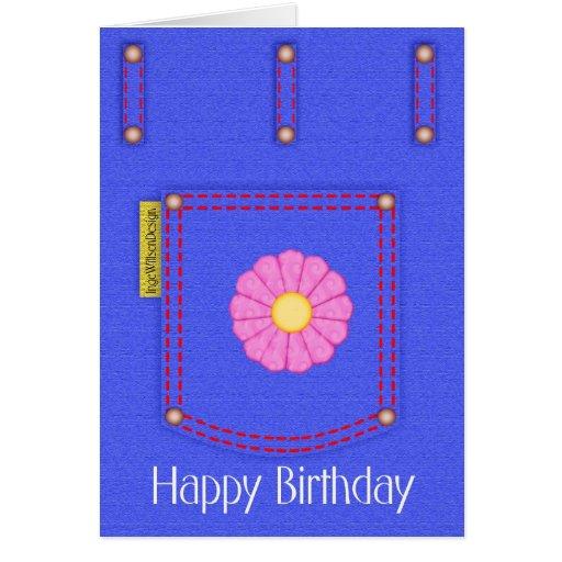 Cartão do feliz aniversario do bolso de jeans da s