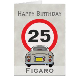 Cartão do feliz aniversario do carro de Figaro da