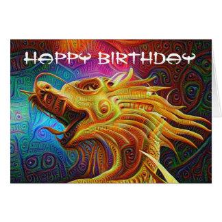 Cartão do feliz aniversario do dragão