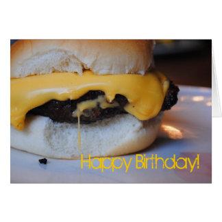 Cartão do feliz aniversario do hamburguer do