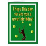 Cartão do feliz aniversario do jogador de ténis