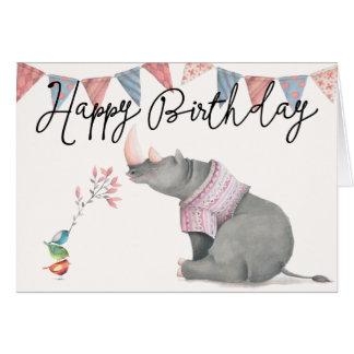 Cartão do feliz aniversario do rinoceronte & dos