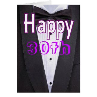 Cartão do feliz aniversario do smoking do traje de