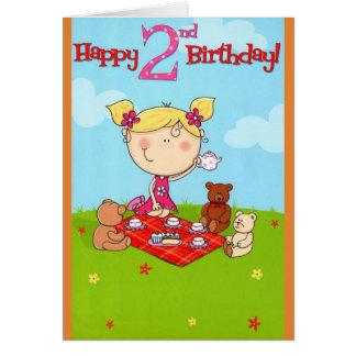 Cartão do feliz aniversario do tea party