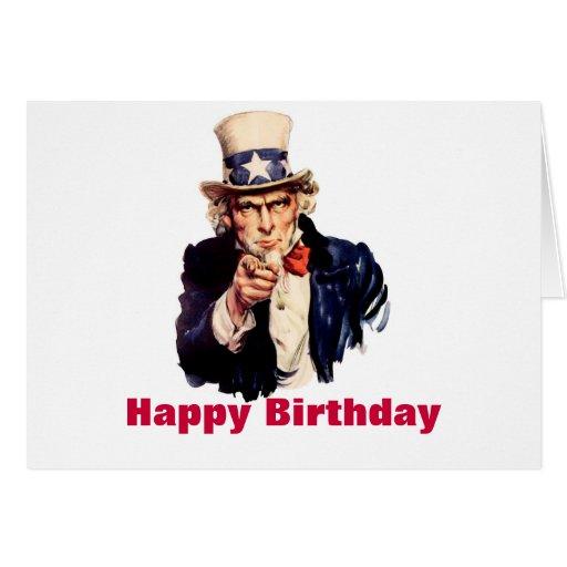 Cartão do feliz aniversario do tio Sam