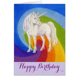 Cartão do feliz aniversario do unicórnio