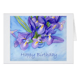 """Cartão do feliz aniversario"""" do vaso da íris """""""