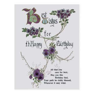 Cartão do feliz aniversario do vintage