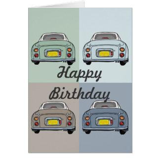 Cartão do feliz aniversario dos carros de Nissan