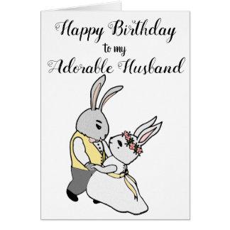 Cartão do feliz aniversario dos coelhos da dança