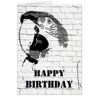 Cartão do feliz aniversario dos grafites do Macaw