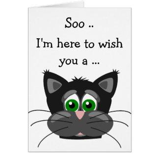 Cartão do feliz aniversario: Gatinho preto e