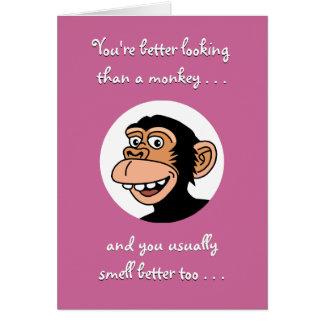 Cartão do feliz aniversario: Macaco engraçado