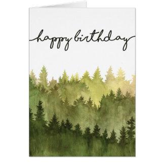 Cartão do feliz aniversario para ele, pinheiros da