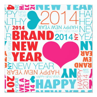 Cartão do feliz ano novo convite quadrado 13.35 x 13.35cm