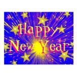 """Cartão do """"feliz ano novo"""" do fogo-de-artifício cartões postais"""