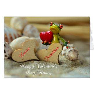 Cartão do feliz dia dos namorados com o sapo