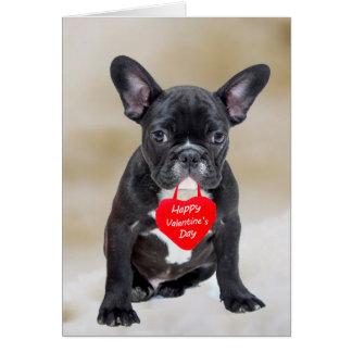 Cartão do feliz dia dos namorados do buldogue