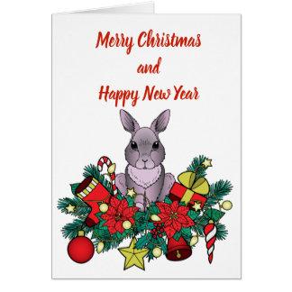 Cartão do Feliz Natal com coelho