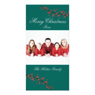 Cartão do Feliz Natal da baga do azevinho Cartão Com Foto