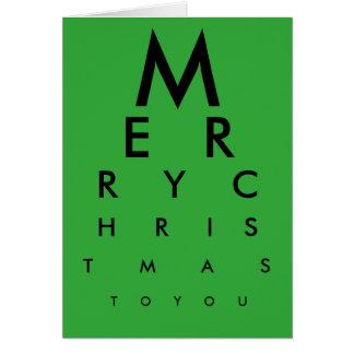 Cartão do Feliz Natal da carta de olho (verde)