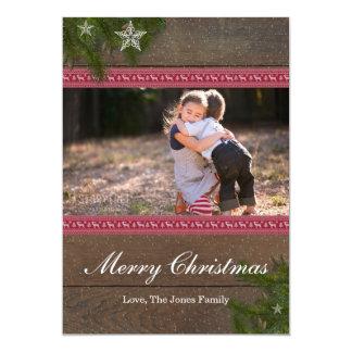 Cartão do Feliz Natal da estrela do ramo do pinho