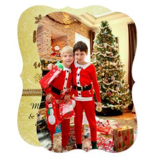 Cartão do Feliz Natal da foto de família do ouro